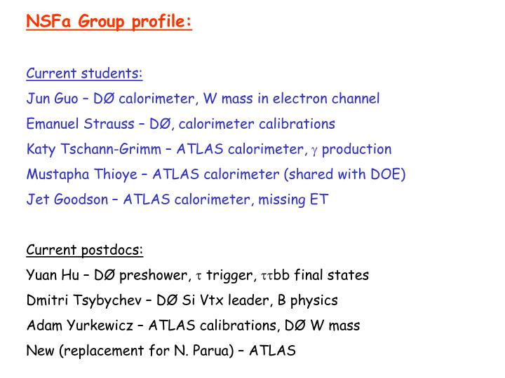 NSFa Group profile: