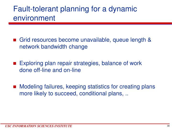 Fault-tolerant planning for a dynamic environment