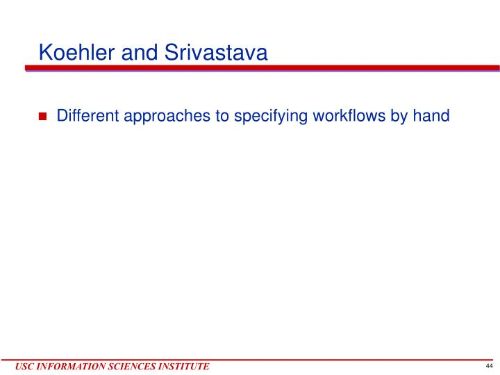 Koehler and Srivastava