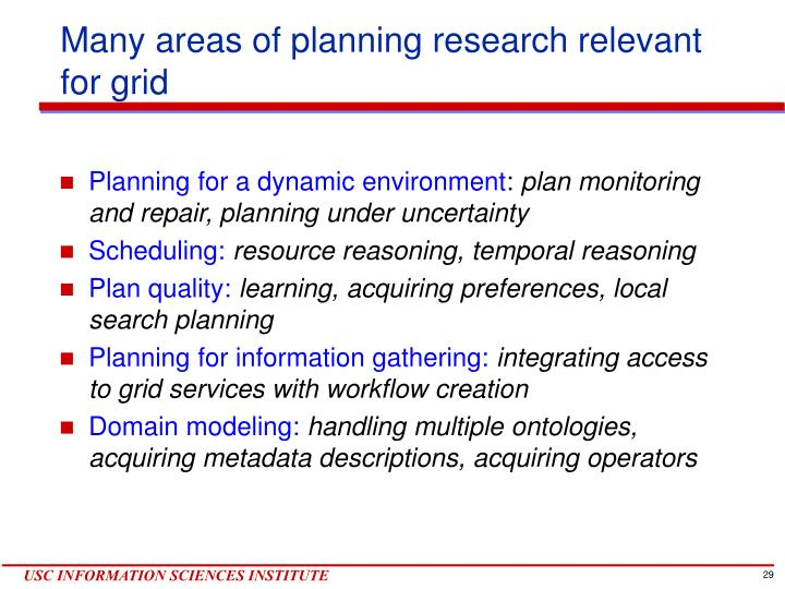 Many areas of planning research relevant for grid