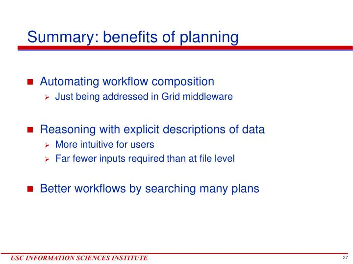 Summary: benefits of planning