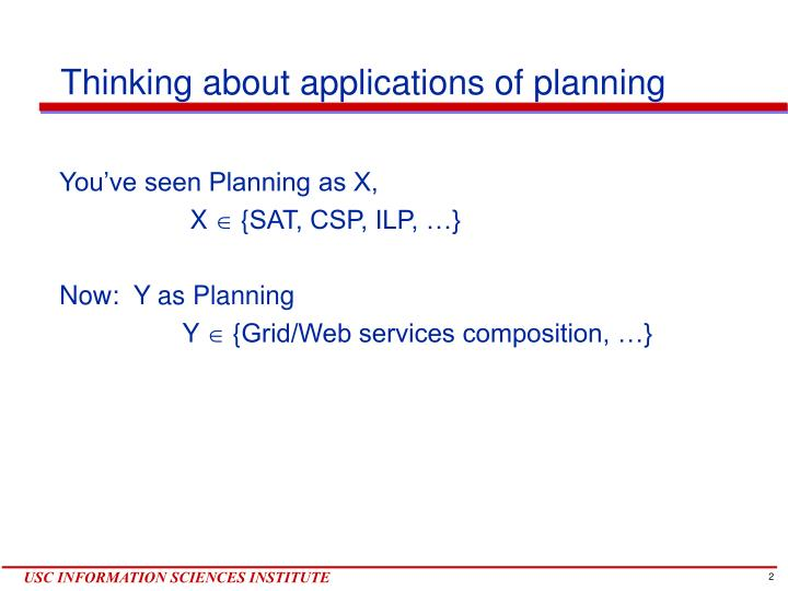 Thinking about applications of planning