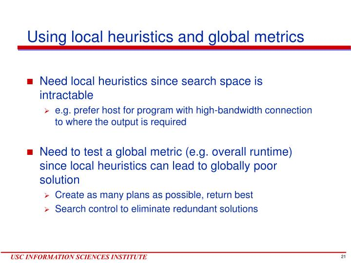 Using local heuristics and global metrics