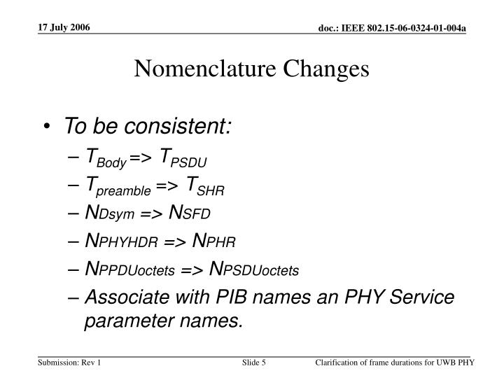 Nomenclature Changes