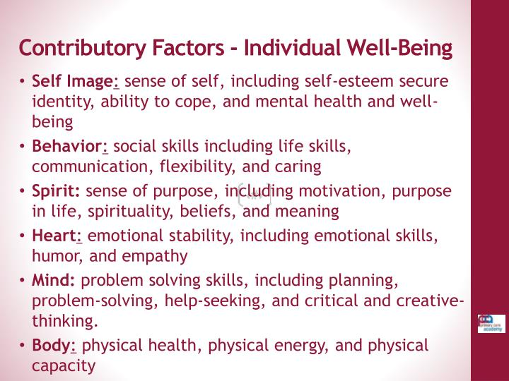 Contributory factors individual well being