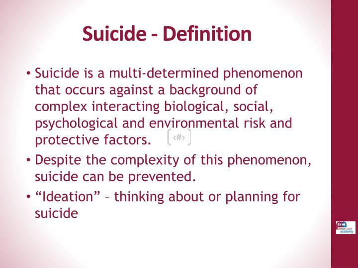 Suicide - Definition