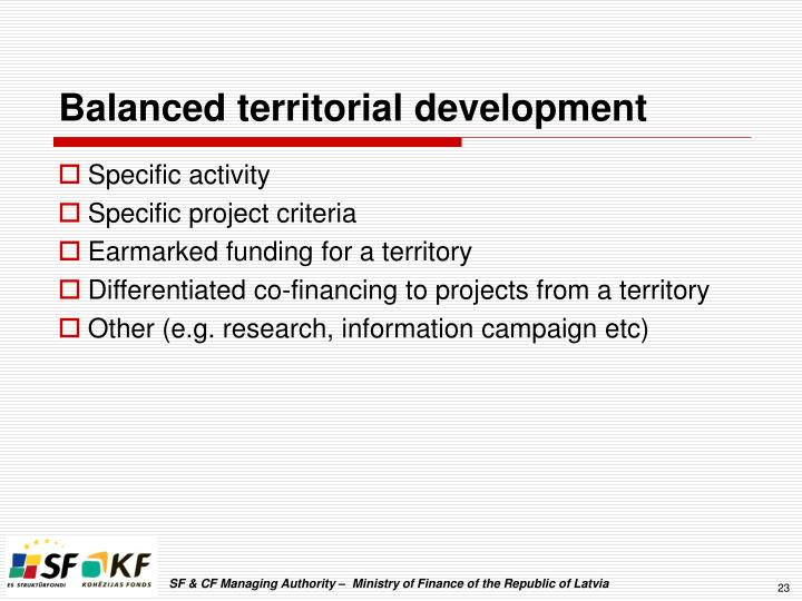 Balanced territorial development