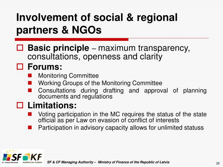 Involvement of social & regional partners & NGOs