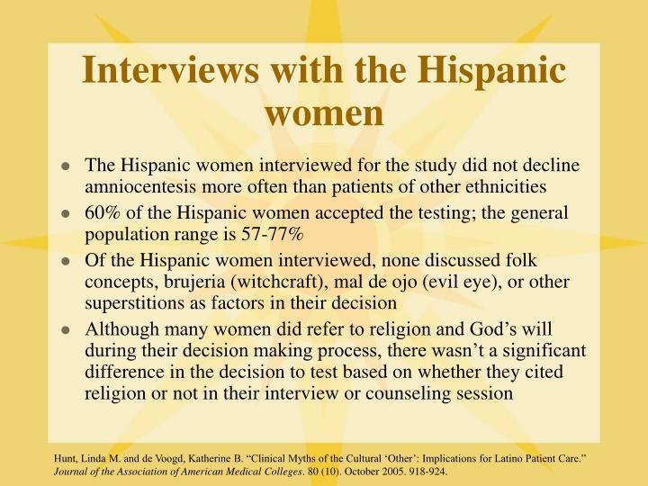 Interviews with the Hispanic women