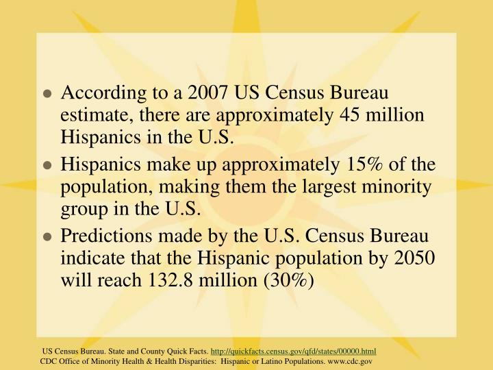 According to a 2007 US Census Bureau estimate, there are approximately 45 million Hispanics in the U.S.