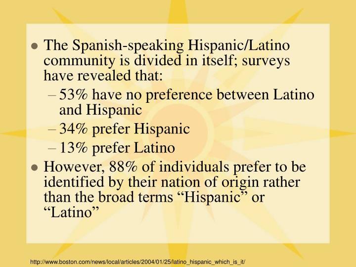 The Spanish-speaking Hispanic/Latino community is divided in itself; surveys have revealed that: