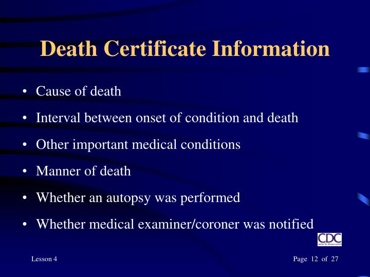 Death Certificate Information