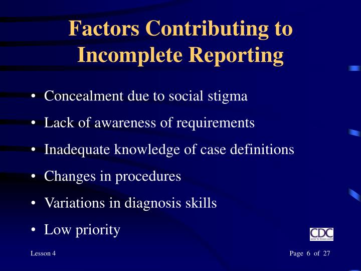 Factors Contributing to Incomplete Reporting