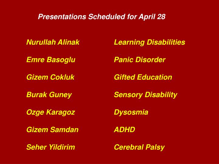Presentations Scheduled for April 28