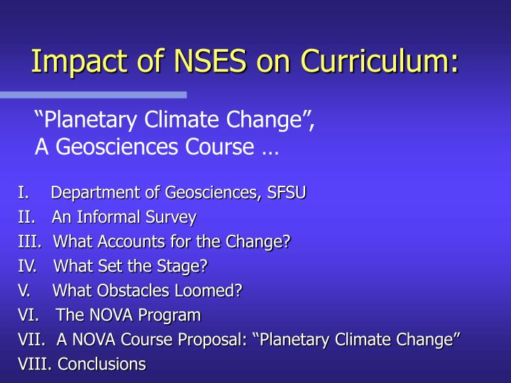 Impact of nses on curriculum