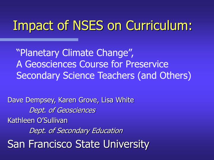 Impact of nses on curriculum1