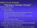 nova course proposal planetary climate change