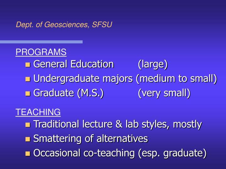Dept. of Geosciences, SFSU