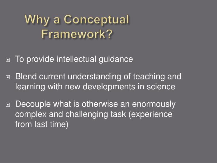 Why a Conceptual Framework?
