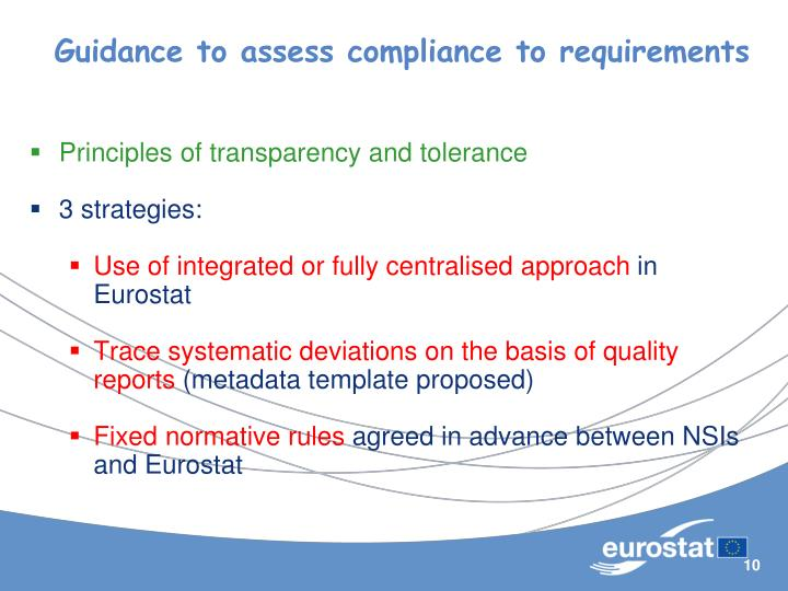 Guidance to assess compliance to requirements