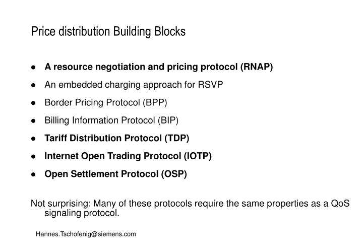 Price distribution Building Blocks