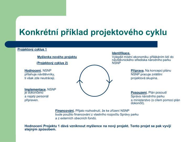 Konkrétní příklad projektového cyklu