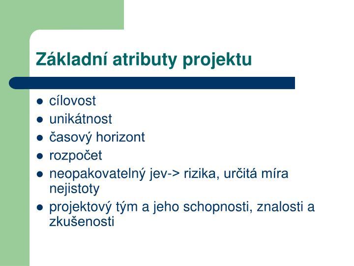 Základní atributy projektu
