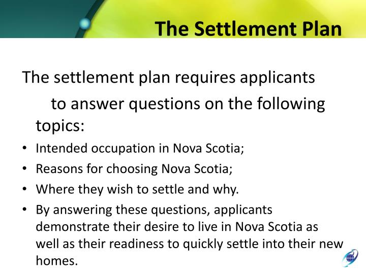 The Settlement Plan