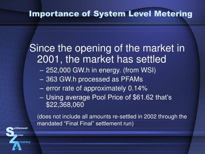 Importance of System Level Metering