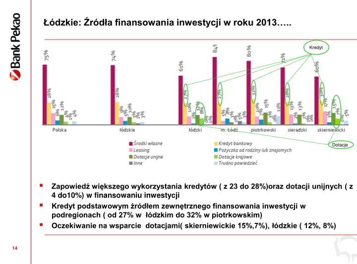 dzkie: rda finansowania inwestycji w roku 2013..