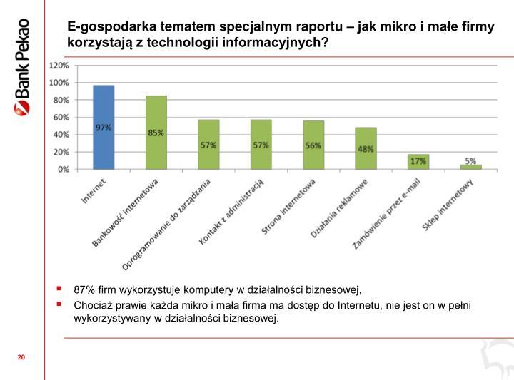 E-gospodarka tematem specjalnym raportu  jak mikro i mae firmy korzystaj z technologii informacyjnych?