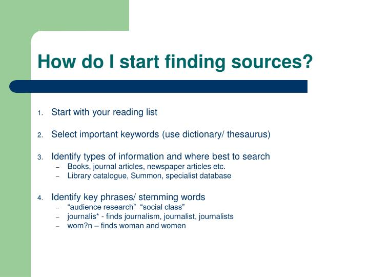 How do I start finding sources?