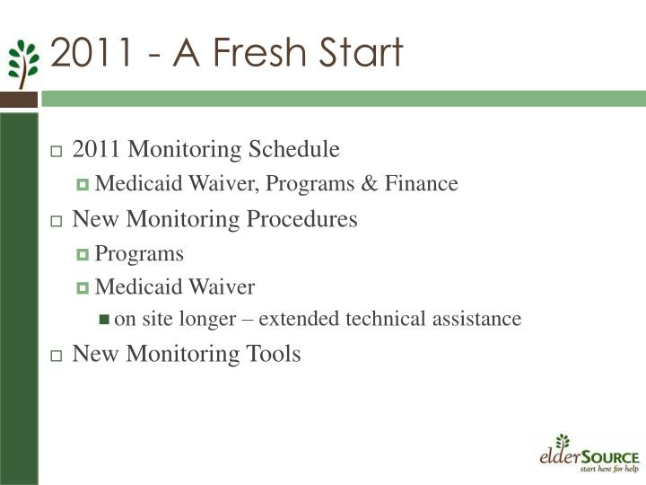 2011 Monitoring Schedule