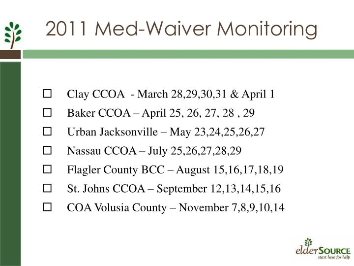 2011 Med-Waiver Monitoring