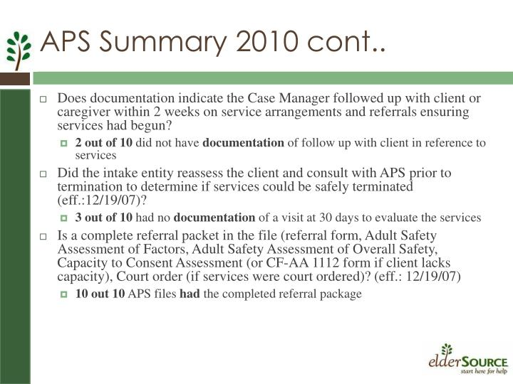 APS Summary 2010 cont..