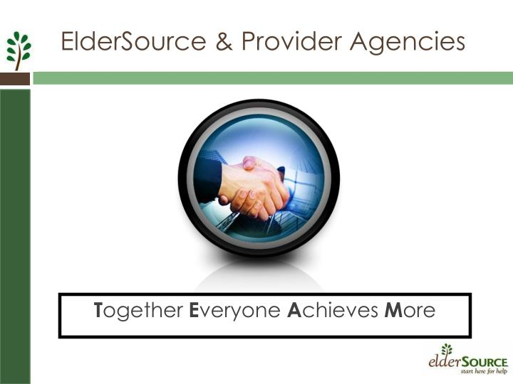 ElderSource & Provider Agencies