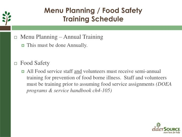 Menu Planning – Annual Training