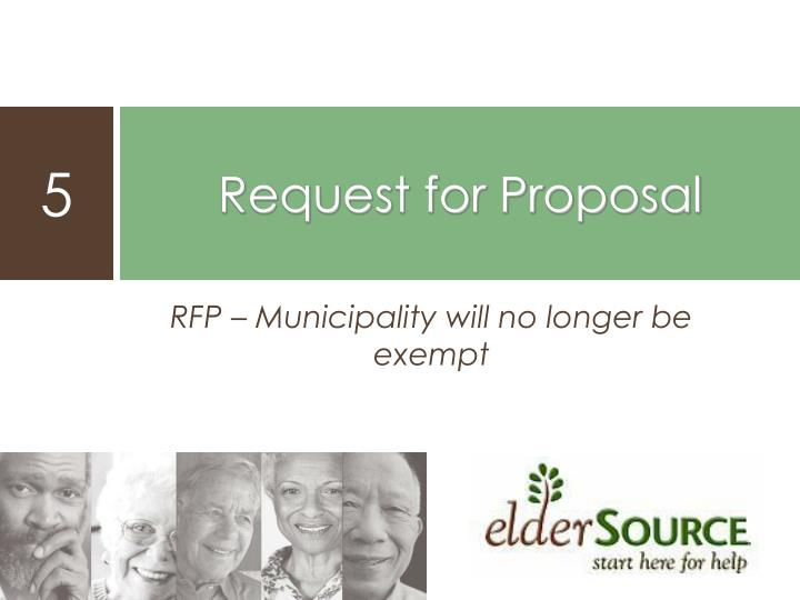 RFP – Municipality will no longer be exempt