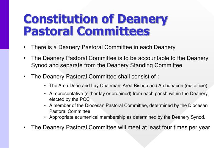 Constitution of Deanery Pastoral Committees