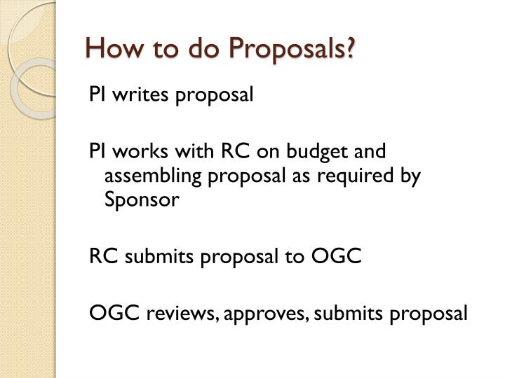 How to do Proposals?