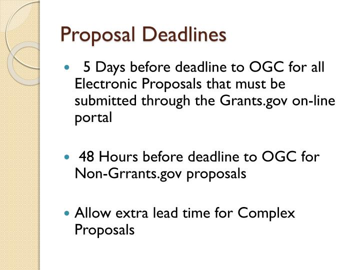 Proposal Deadlines