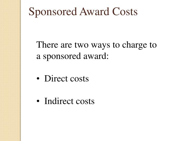 Sponsored Award Costs