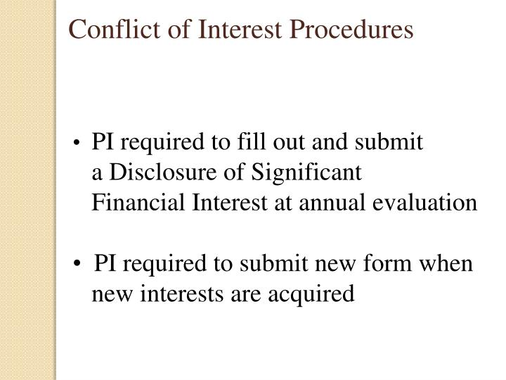 Conflict of Interest Procedures