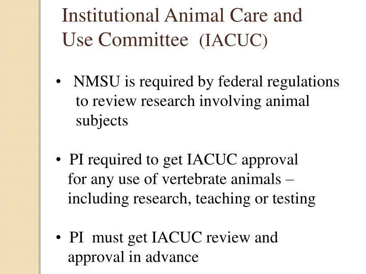 Institutional Animal Care and