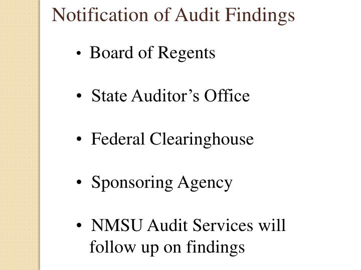 Notification of Audit Findings