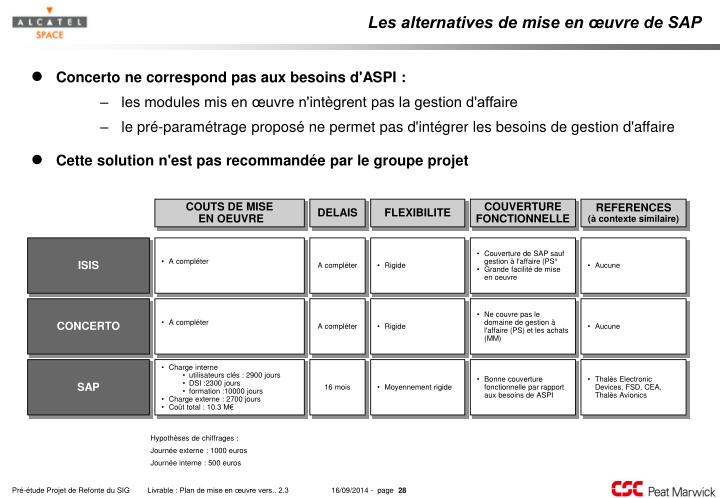 Les alternatives de mise en œuvre de SAP