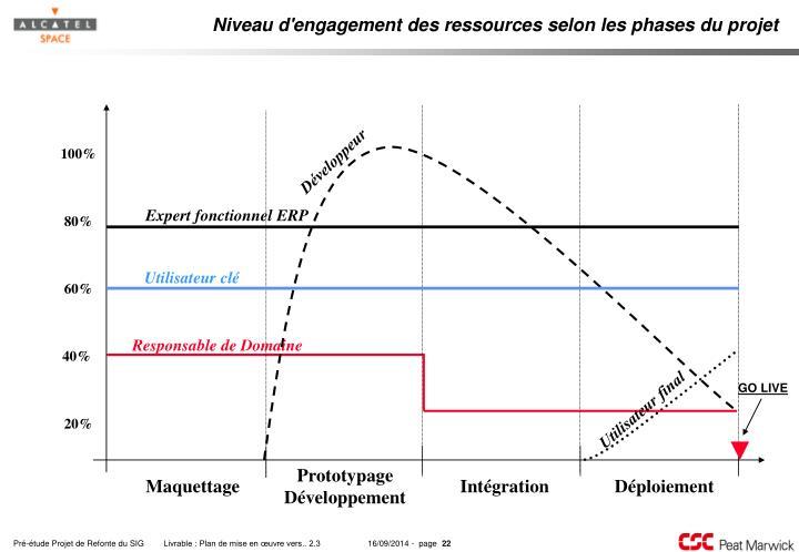 Niveau d'engagement des ressources selon les phases du projet