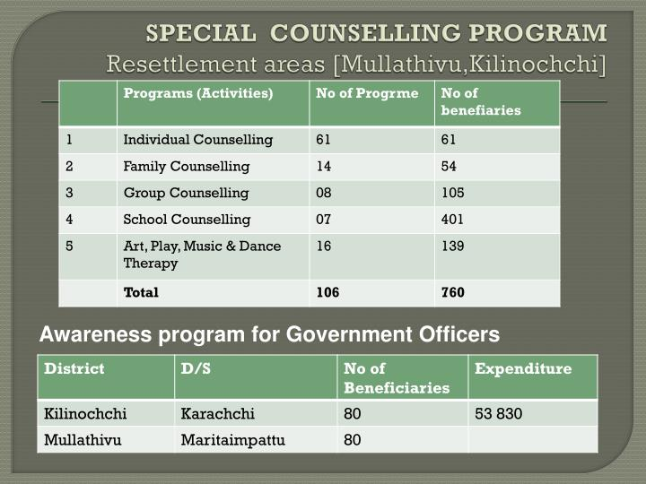 SPECIAL  COUNSELLING PROGRAM