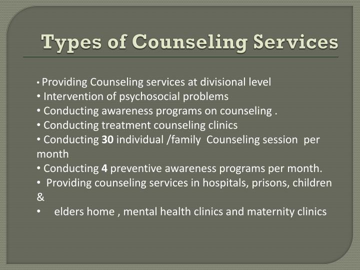 Types of Counseling Services