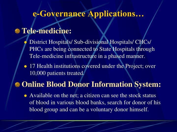 e-Governance Applications…